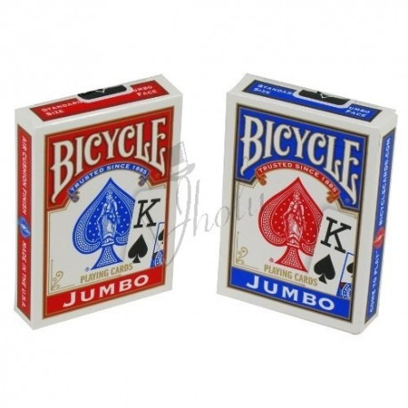Cartas Bicycle Jumbo Index Poker - Dorso Azul/Rojo (Deck Blue/Red)